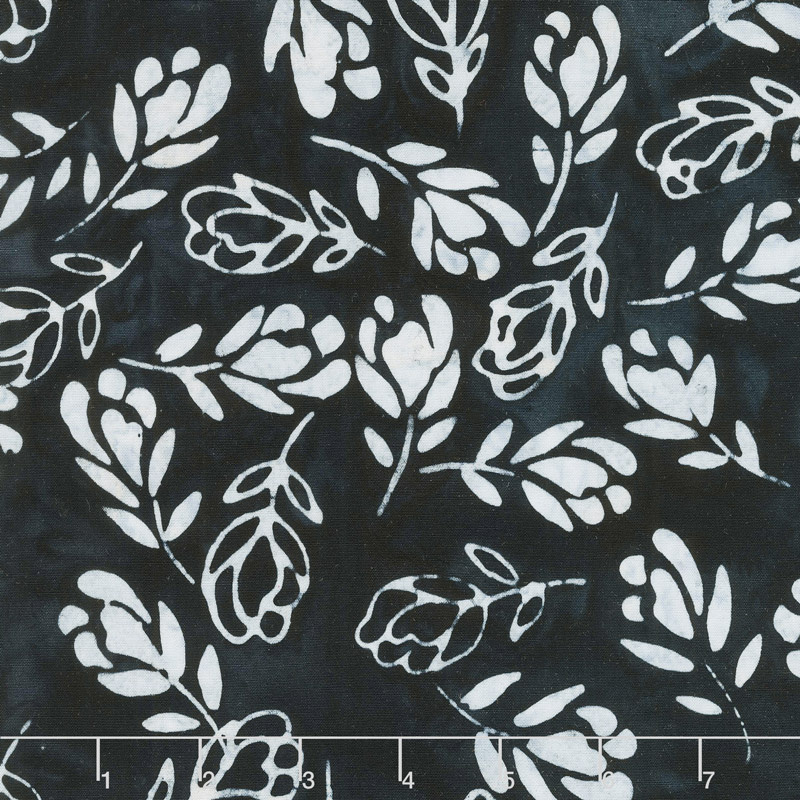 Signature Batiks - Falling Floral Black Yardage