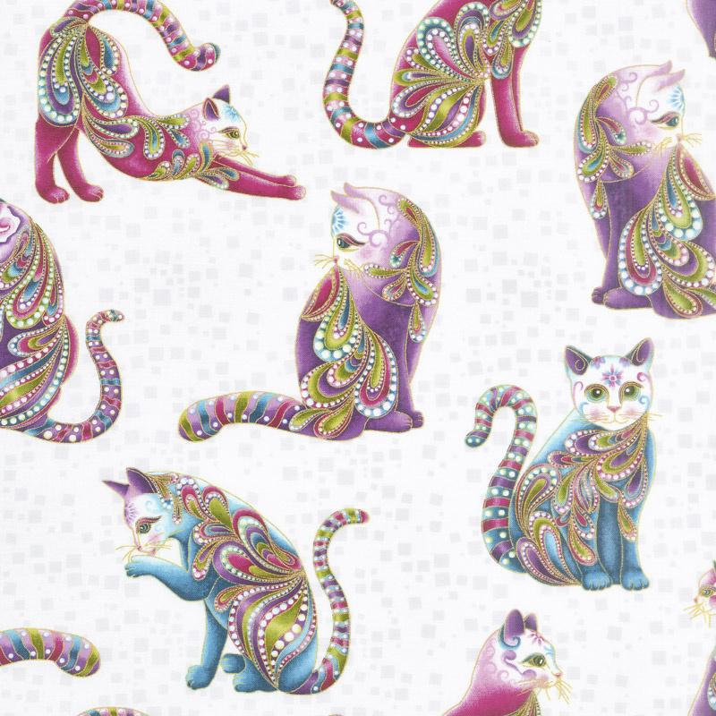 Cat - i - tude - Artist-O-Cats White/Multi Yardage