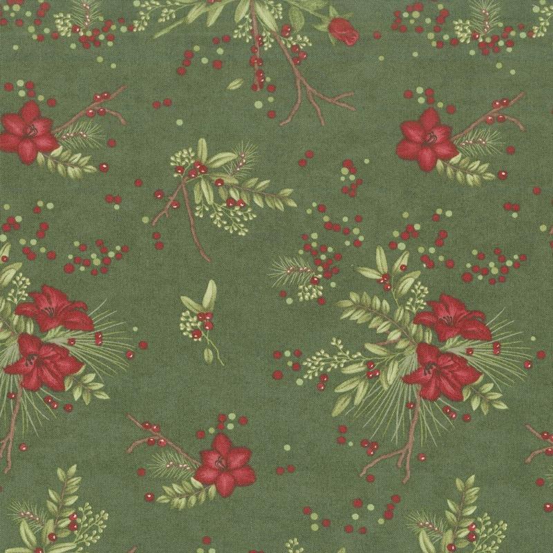 Winter Manor - Manor Floral Pine Yardage