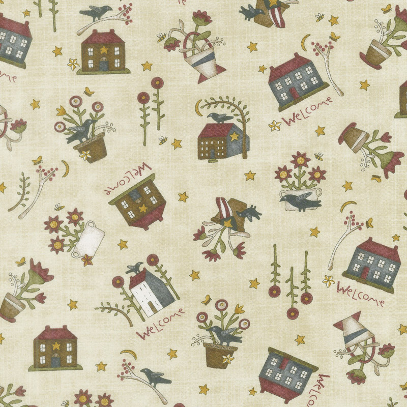 Buttermilk Blossoms - Novelty Toss Taupe Yardage
