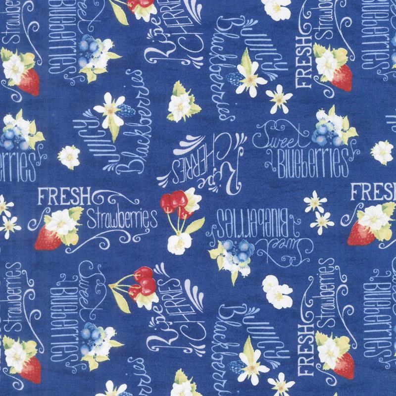 Berry Sweet - Berries and Word Toss Dark Blue Yardage