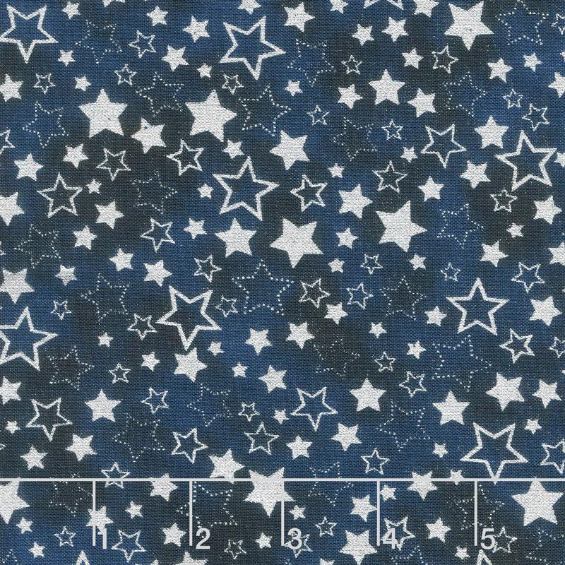 Winter's Grandeur 7 - Sky Stars Navy Metallic Yardage