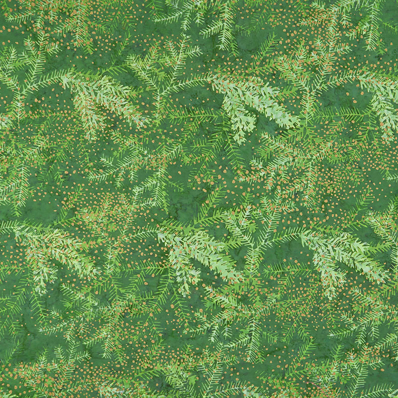 Artisan Batiks - Twilight Snowfall Holiday Pine Metallic Yardage