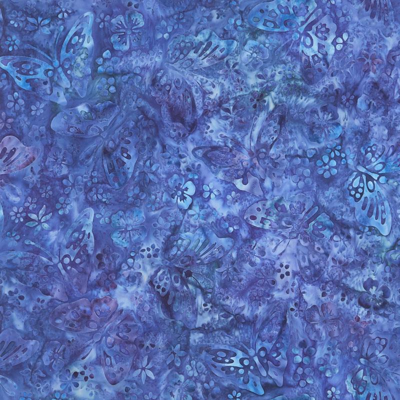 Artisan Batiks - Butterfly Blooms Butterflies Blue Yardage