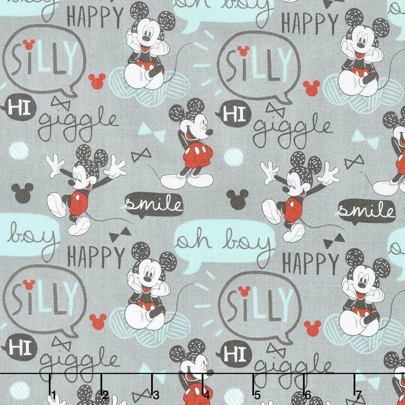 Mickey Mouse - Oh Boy! Grey Yardage