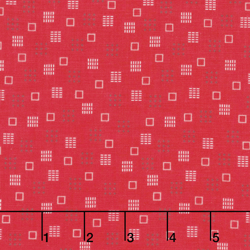 Autumn Love - Squares Red Yardage