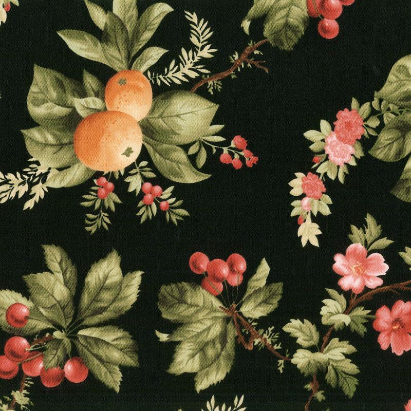 A Fruitful Life - Fruitful Floral Black Yardage