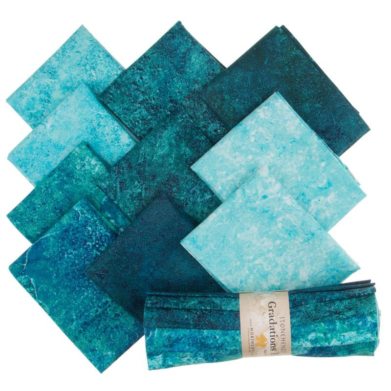 18/'/' X 22/'/' Northcott Cotton Fabric Rainforest Stonehenge Gradations 10 Fat Quarters