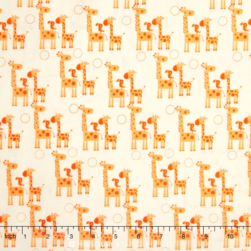 Giraffe Crossing 2 - Giraffes Orange Yardage