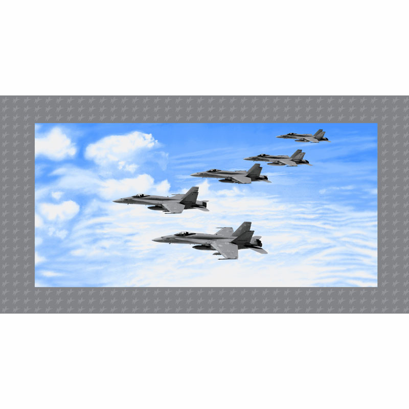 Air Show - Fighter Jet Formation Blue Gray Panel
