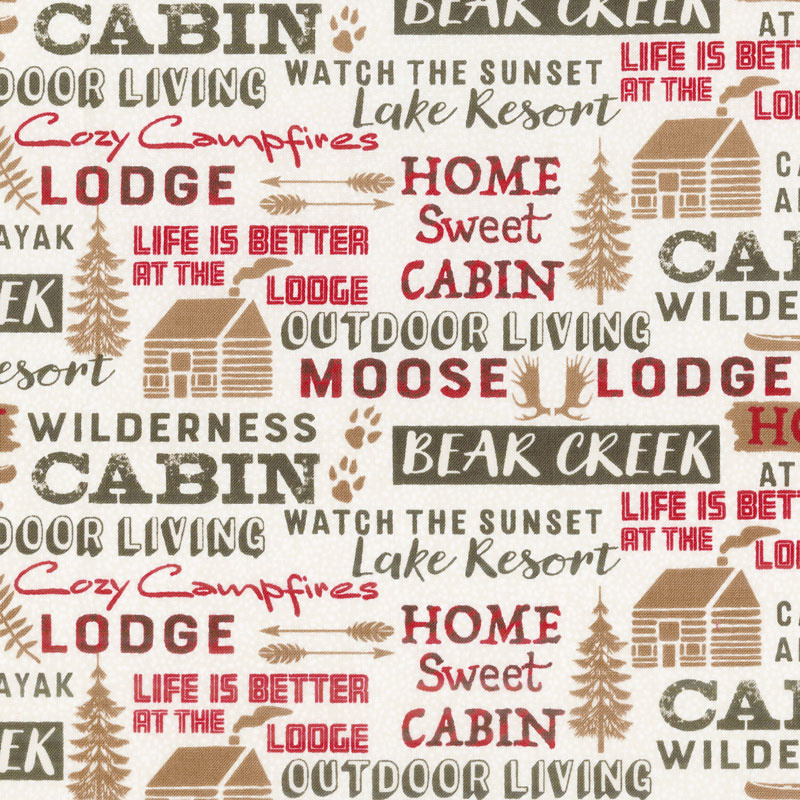 Home Sweet Cabin - Cabin Words Cream Yardage