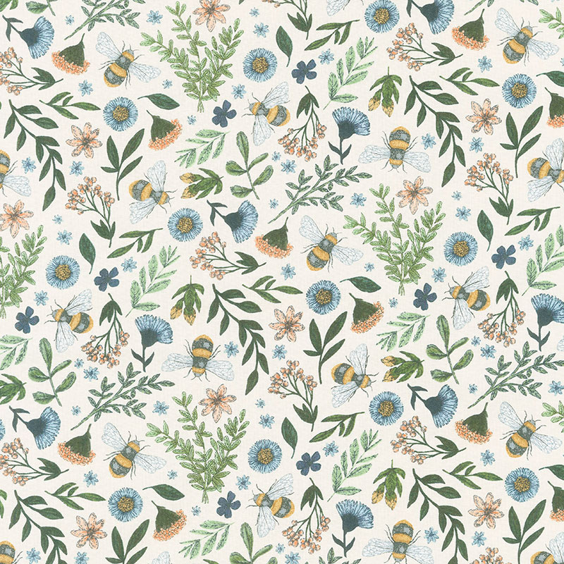 Bee Kind - Floral and Bee Toss Cream Multi Yardage