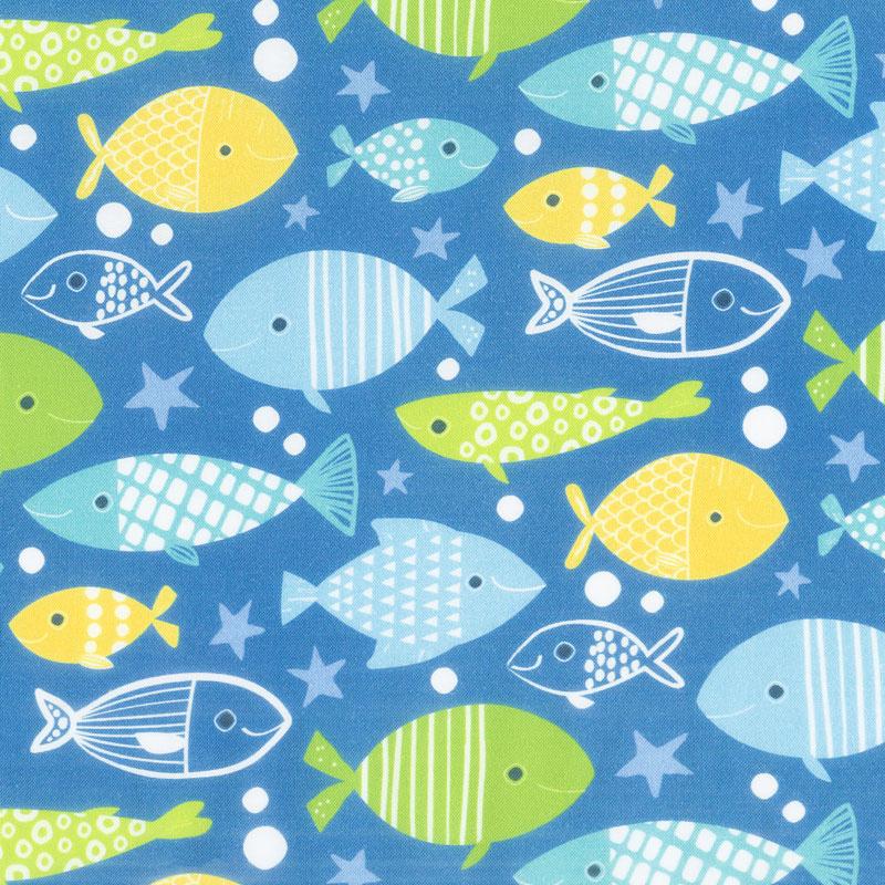 Go Fish - Allover Fish Royal Multi Yardage