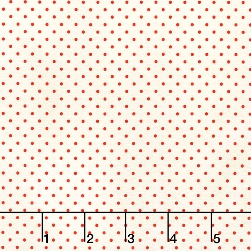 Swiss Dot - Swiss Dot Small Red on Cream Yardage