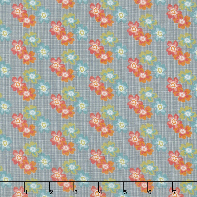 Floral Hues - Bouquet Gray Cotton Lawn Yardage