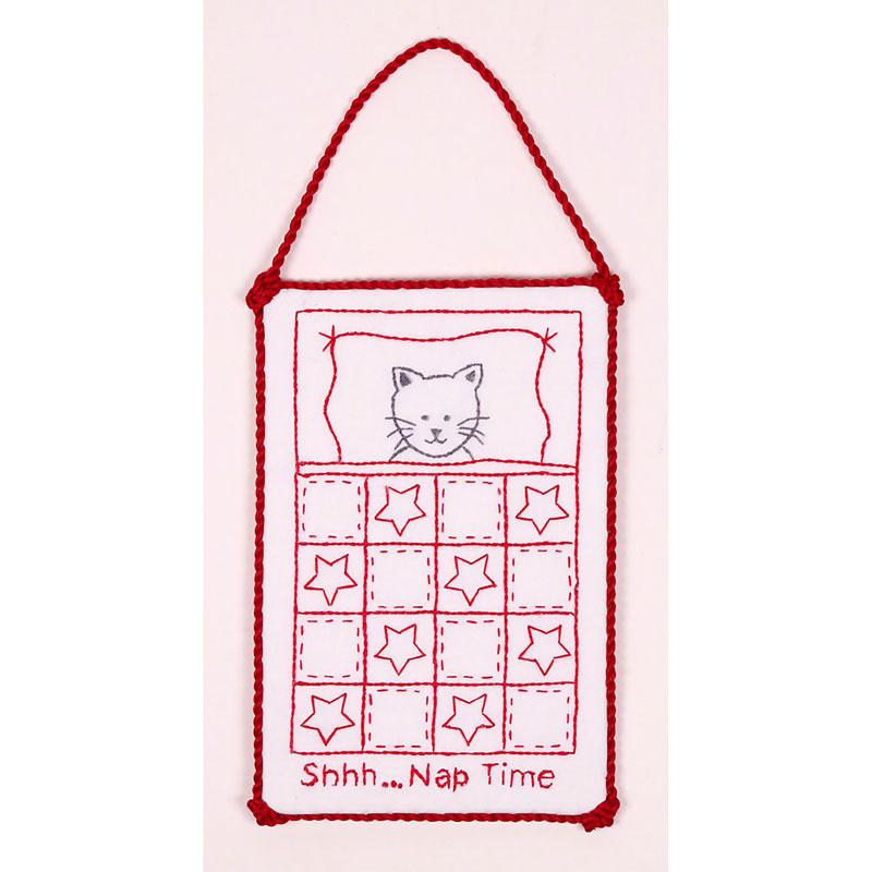 Redwork Naptime Kitty Hanger Kit
