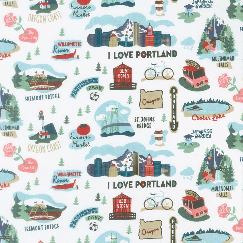 I Love Oregon - Oregon White Yardage