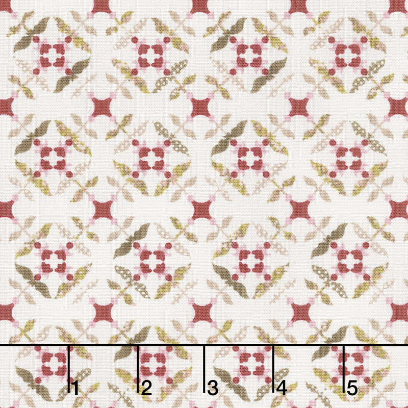 Tickled Pink - Tile Flowers Cream Yardage