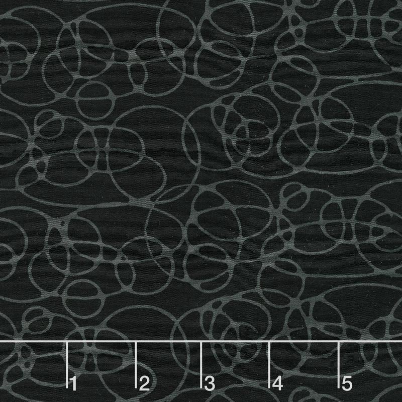 Black Beauty Batiks - Circles Black and Gray Yardage