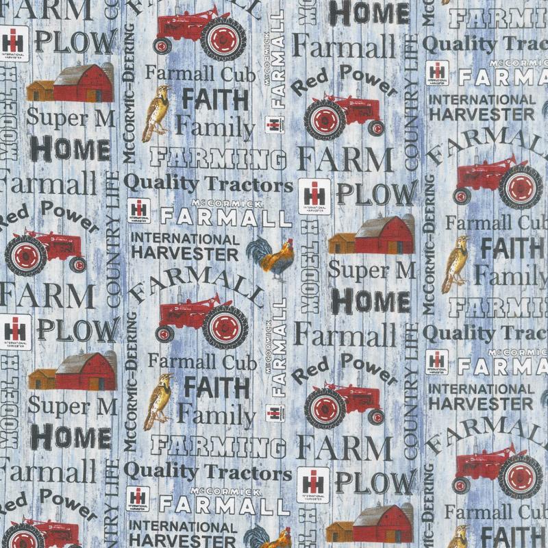 Farmall - Hometown Life Words Blue Yardage