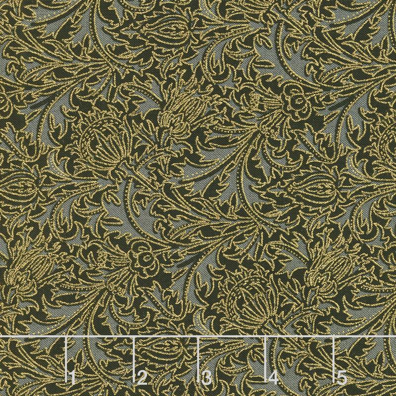 Morris Holiday 1897 - Thistle Ebony Metallic Yardage