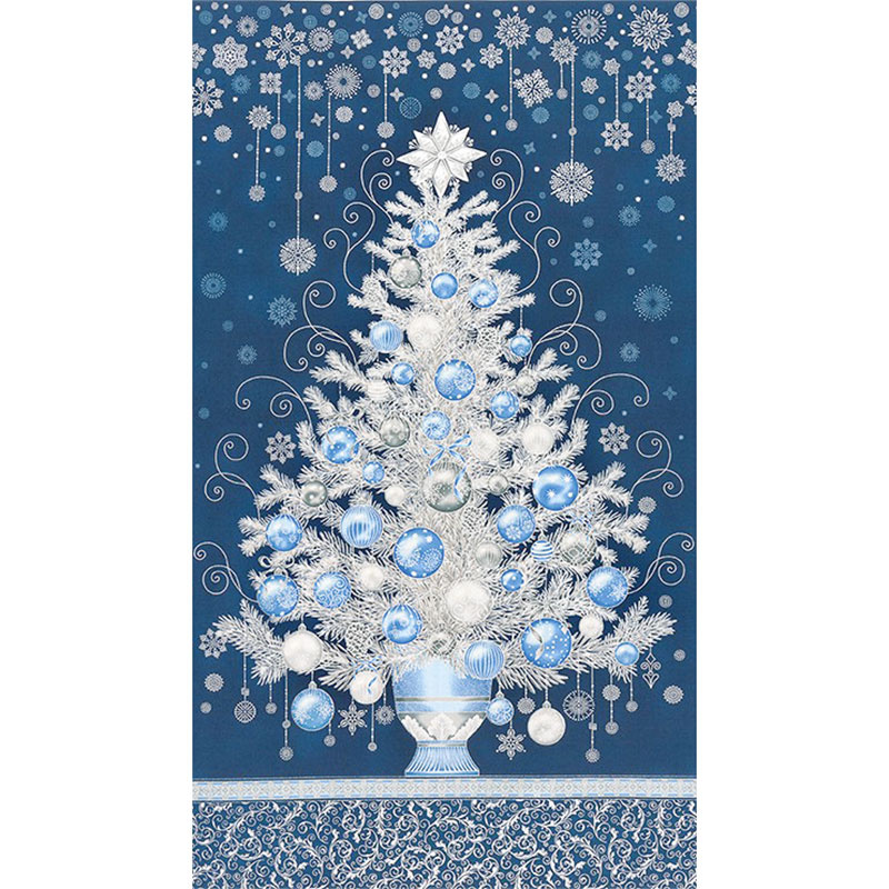 Holiday Flourish 13 - Blue Tree Navy Metallic Panel