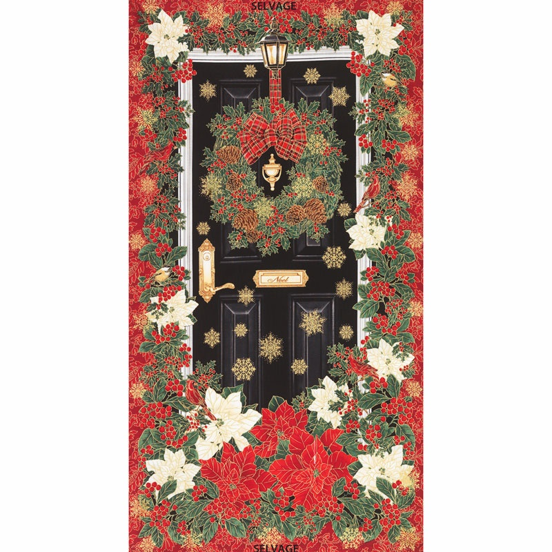 Holiday glamorous holiday door red metallic panel for Front door quilt pattern