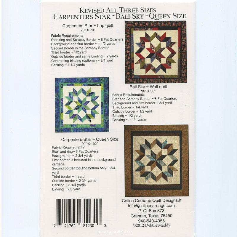 Carpenter's Star Bali Sky Revised Pattern