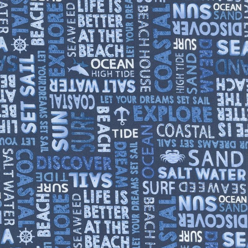 Indigo Coastal - Words Indigo Blue Yardage