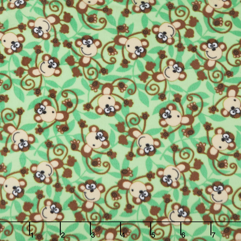 Winterfleece Prints Children - Monkeys Green Yardage