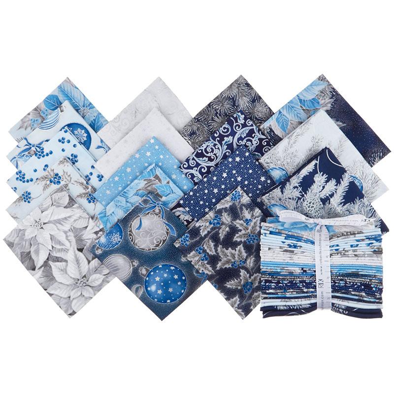 Holiday Flourish 13 Blue Metallic Fat Quarter Bundle