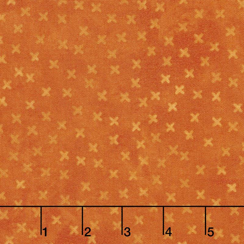 X's and O's - Little Kisses Orange Yardage