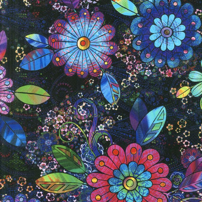 Starlight & Splendor - Rhapsody in Bloom Moonlit Digitally Printed Yardage