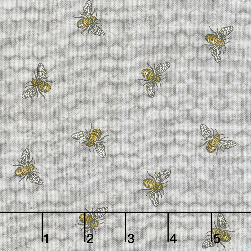 Bee Joyful - Busy Bee Dove Grey Yardage