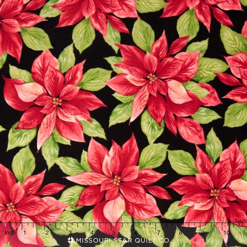 Songbird Christmas - Poinsettia Black Yardage