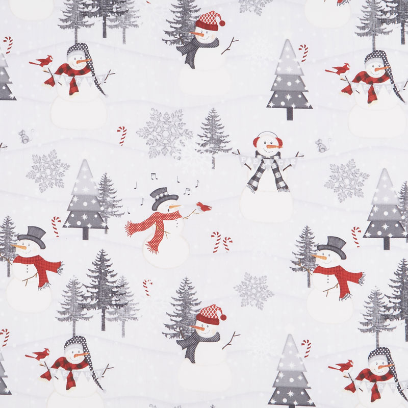 Snowy Wishes Scenic Gray Yardage Jennifer Pugh