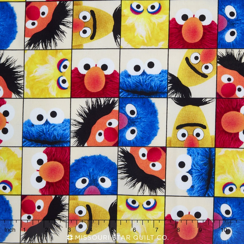 Elmo and Friends - Character Face Close-Up Patch Cream Yardage ... : elmo quilt - Adamdwight.com