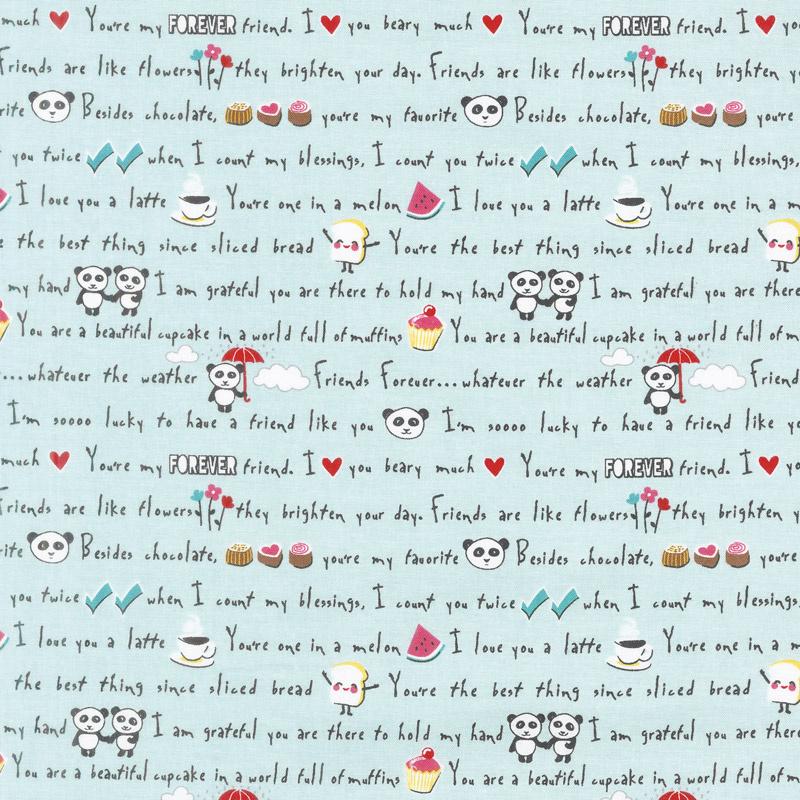 Panda Love - Words Aqua Yardage