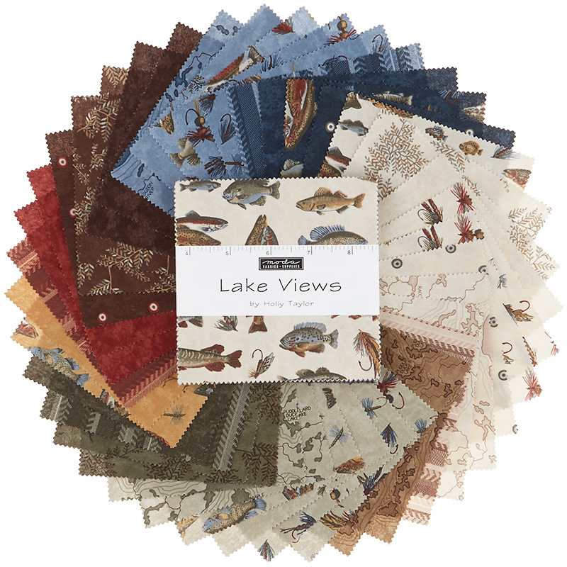 Lake Views Charm Pack by Holly Taylor; 42-5 Precut Fabric Quilt Squares