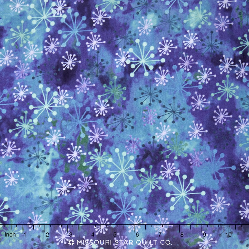 Cosmic Fusion - Cosmic Star Dark Blue Yardage - Sue Beevers