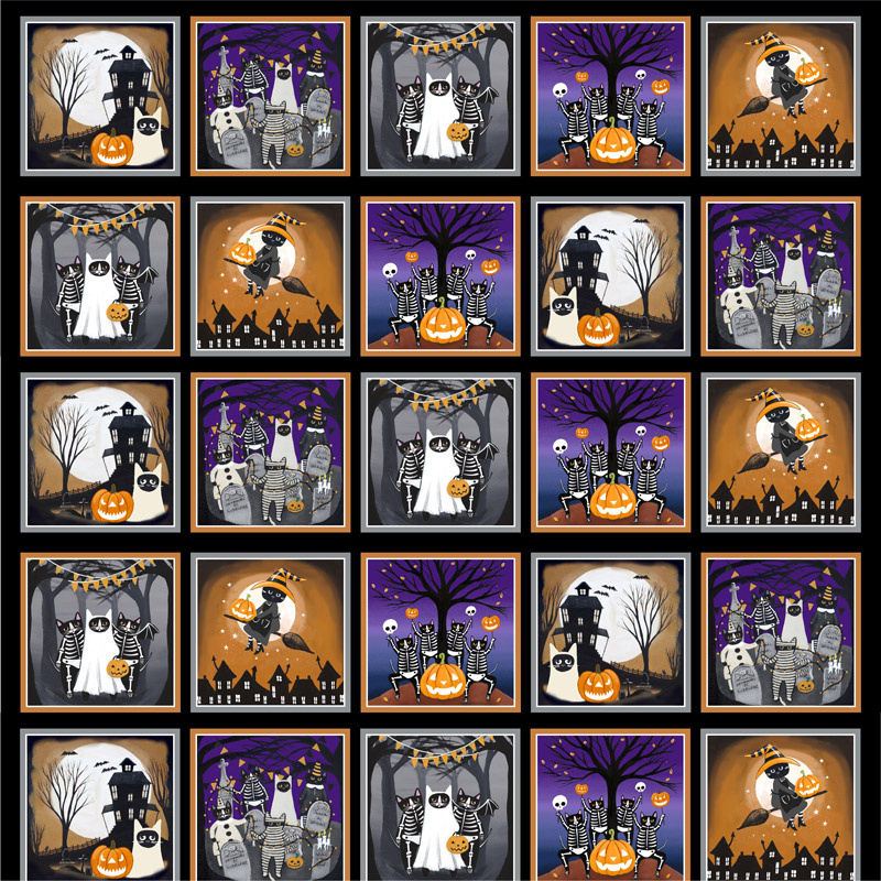 So Adora-Boo! - Cat Halloween Block Glow in the Dark Panel