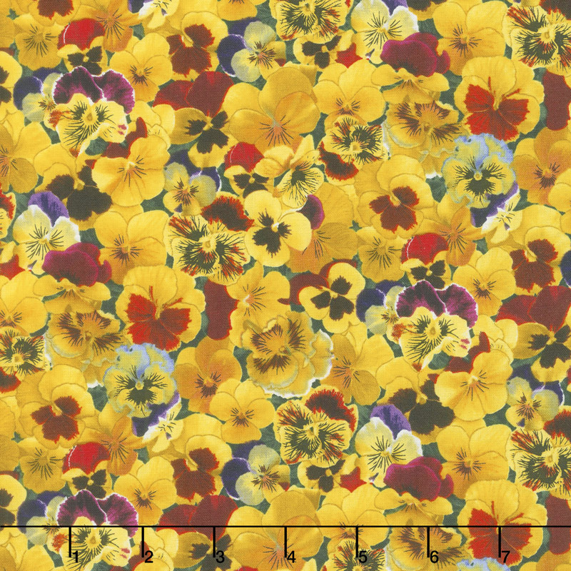 Flowers - Lovely Pansies Packed Pansies Yellow Yardage