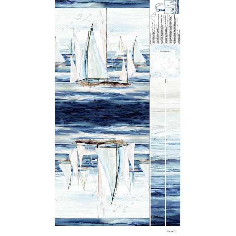Sail Away - Easy Sew Bag Indigo Canvas Digitally Printed Panel