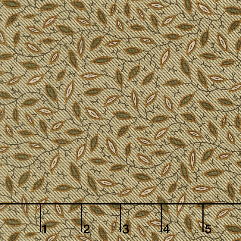 Spice It Up - Pointy Leaves Olive Green Yardage