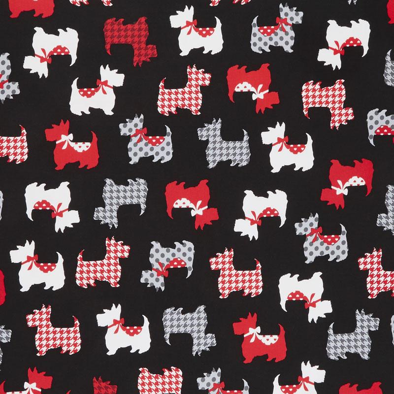 Kanvas Studio Cotton Fabric Dotty for Scottie Dogs Stripes Black
