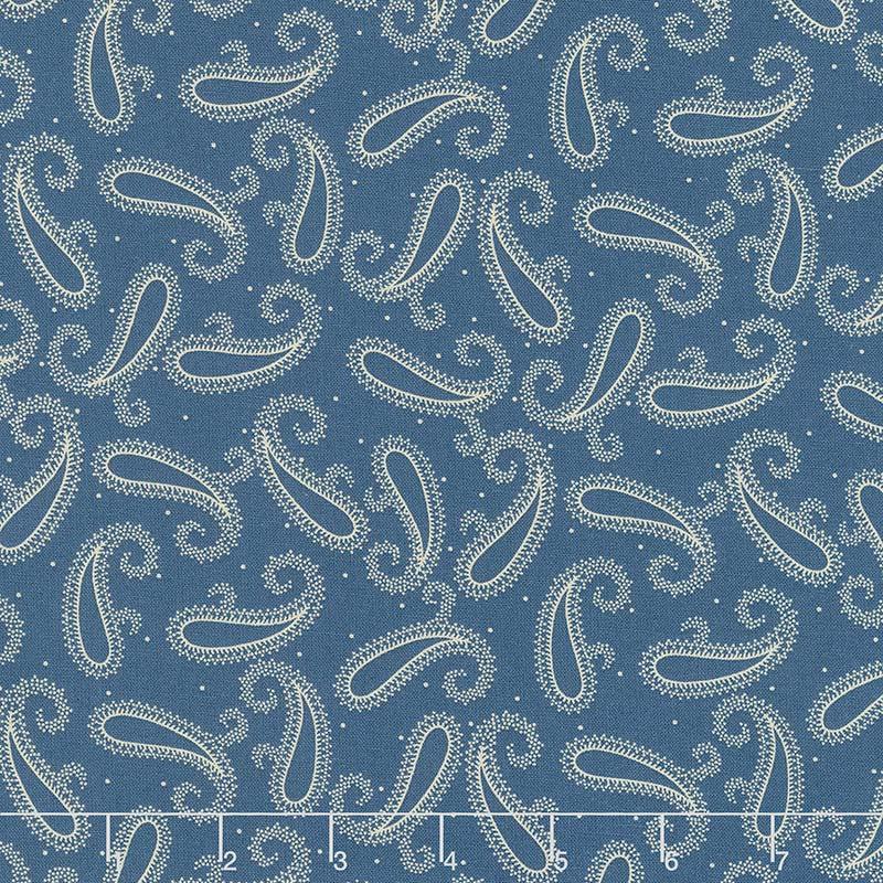 Mood in Blue - Indigo Paisley Blue Yardage