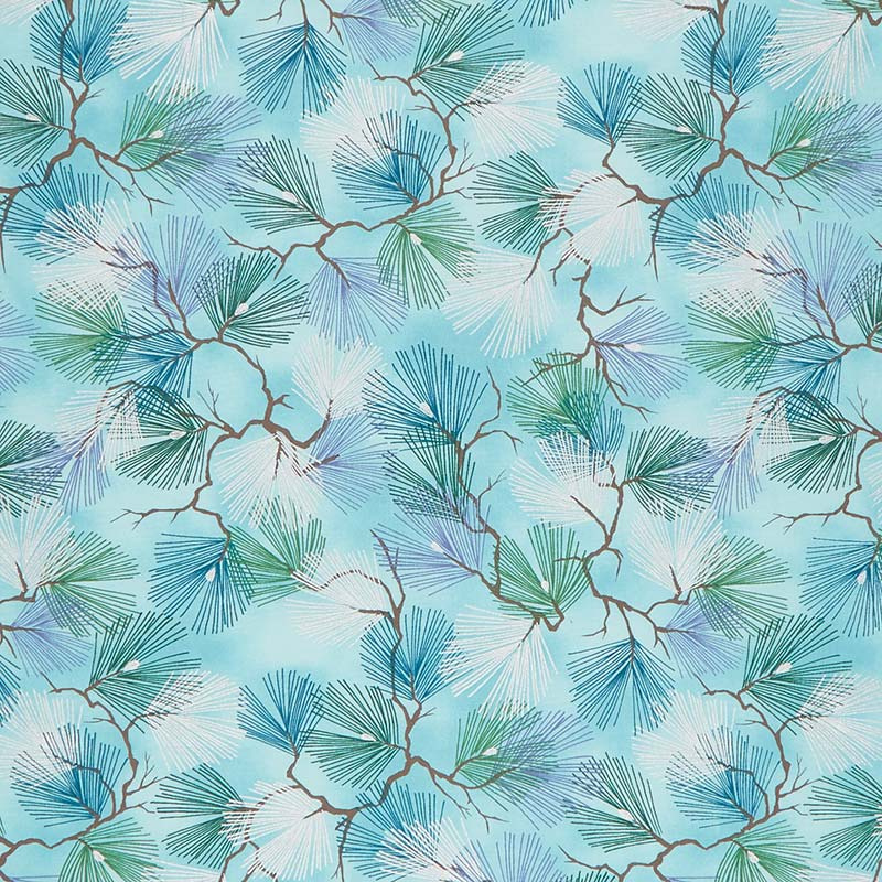A Walk on the Path - Teal Pine Branches Metallic Yardage