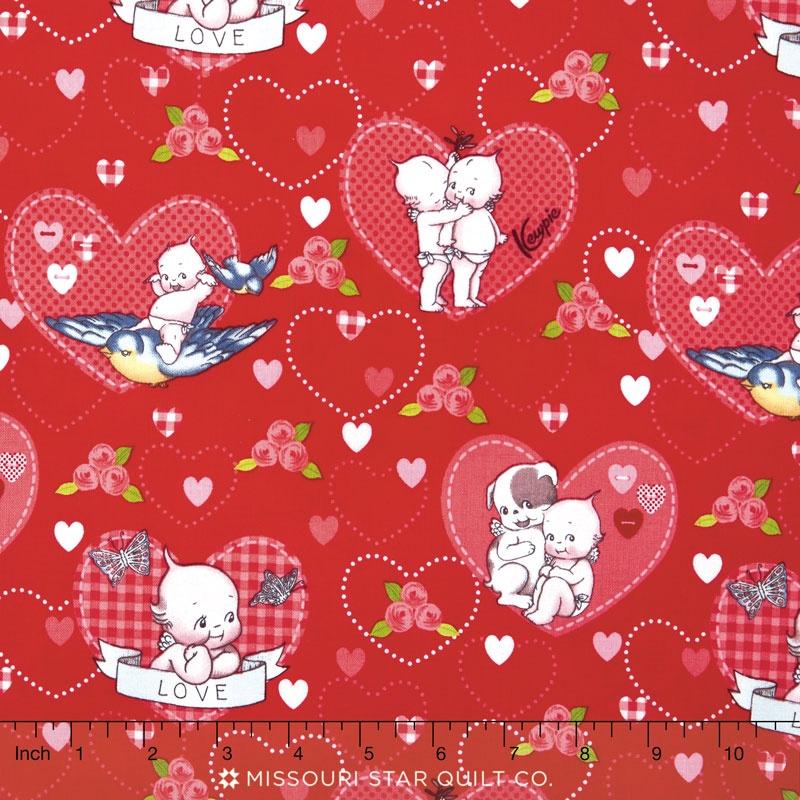 Kewpie Love - Main Red Yardage