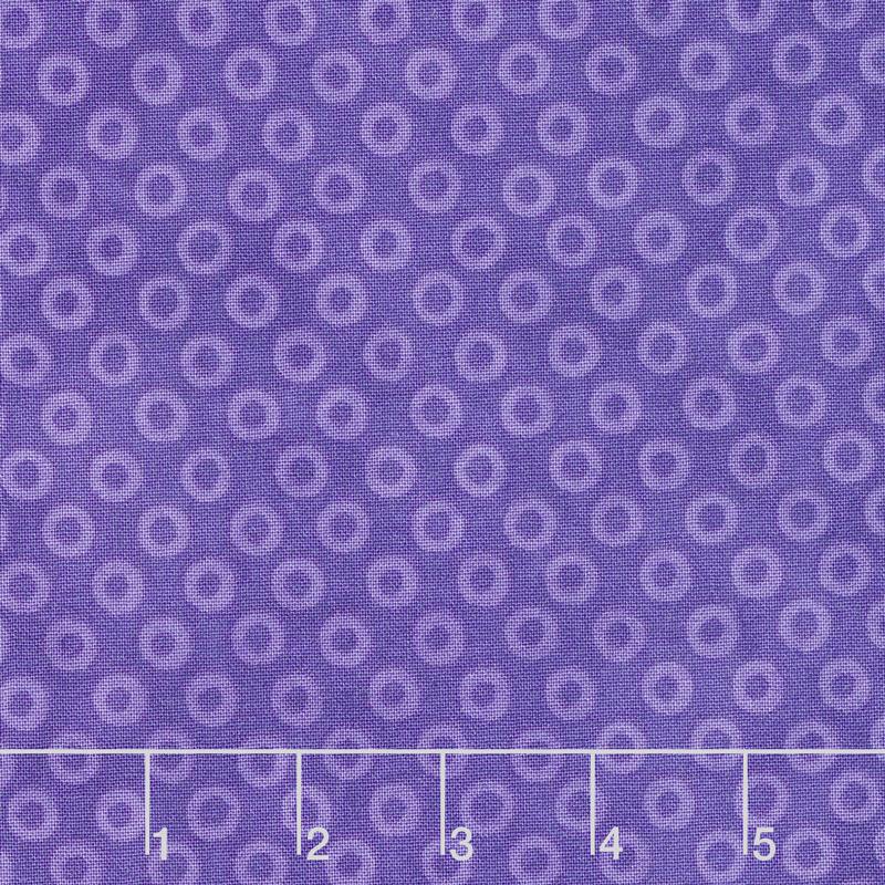 X's and O's - Wild Orchid Big Cheerio Blue Purple Yardage