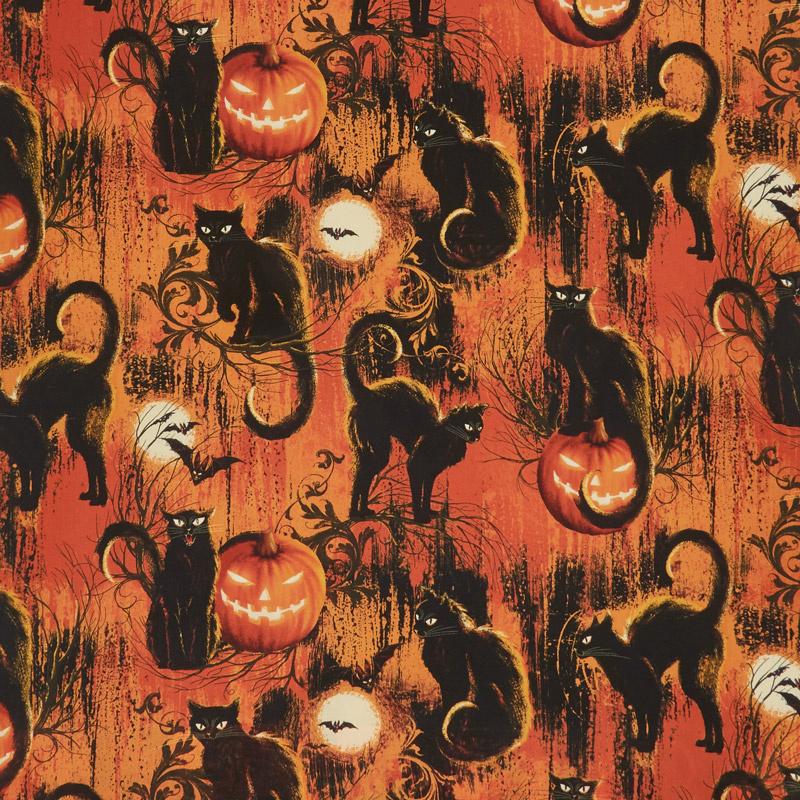 Wicked Hot - Black Cats Fire Yardage